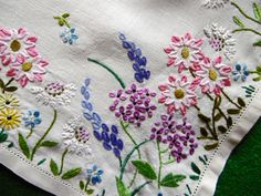 Vintage, Stunning Hand Embroidered Tablecloth, GARDEN BORDERS in Antiques, Fabric/Textiles, Embroidery | eBay!