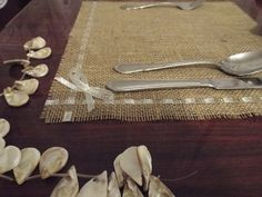 Items similar to Rustic Placemats - Burlap and NAVY / DARK BLUE Lace, Wedding Placemat, Rustic Country Wedding, Country Home Decor, French Country Cottage on Etsy Farmhouse Chic, Farmhouse Table, Diy Wedding Decorations, Table Decorations, Rustic Placemats, Ruffled Tablecloth, Rustic Table Runners, Burlap Mason Jars, Silverware Holder