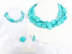 Turquose Bridal Jewelry - Chunky Turquoise Wedding Jewelry these would look pretty with your dress or the bridesmaid dresses