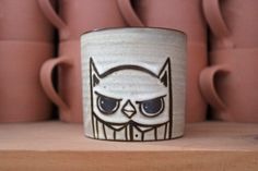 Stoneware Coffee Mug with Surly Owl by Danmade on Etsy, $25.00