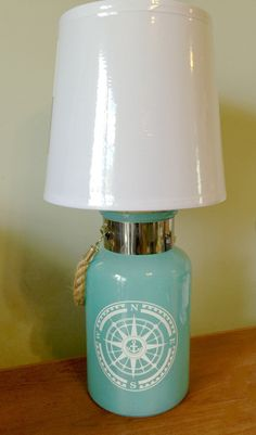 Beach House Nautical Teal Green Glass Bottle Table Lamp, Desk Lamp, Glass Bottle Lamp, Small Table Lamp, Small Side Table Light by LampsReVampedandMore on Etsy