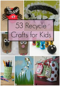 54 Recycled Crafts for Kids 53 Recycle Crafts for Kids because I can't see PRINTING color pages Recycling Projects For Kids, Recycled Crafts Kids, Recycled Art, Crafts For Teens, Craft Projects, Craft Ideas, Kids Crafts, Decorating Ideas, Earth Day Projects