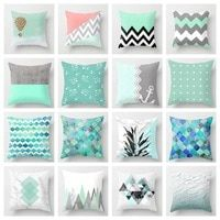 ZENGIA Blue/Green Geometric Cushion Cover Marble Texture Throw Pillow Case Cushion Cover For Sofa/Home Decor Pillowcase Decorative Pillow Cases, Decorative Cushions, Throw Pillow Cases, Throw Pillows, Geometric Cushions, Geometric Pillow, Cushion Covers, Pillow Covers, Cushion Pillow