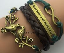 Charm Fashion Jewelry Leather Double Infinite Multilayer Braided Wax Rope Cheap Price Gift $6.49 free shipping.