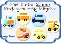 6 Set Button Fahrzeuge Mitgebsel Kindergeburtstag von Jasuki auf DaWanda.com