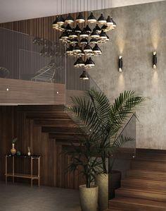 Dark lighting fixtures with metallic glint