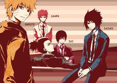 Back-Front & Left-Right) Gaara, Shikamaru, Sai, Naruto, & Sasuke. <3
