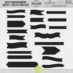 Basic Ribbon Banners Shapes + SVG Cutting Files