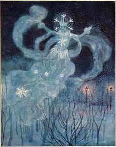 Fascinating SNOW QUEEN!  Digital CHRISTMAS Card.  Digital Vintage Illustration. Digital Christmas Download. Digital Winter Download.