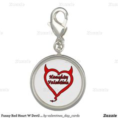 Funny Red Heart W Devil Horns Naughty Valentine Photo Charms This funny product features a red heart with devil horns and tail and the text naughty valentine. Great for someone who wants to get a little mischievous or wicked.