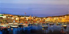 36-Marsaxlokk-Kal-Gajoum-Paintings-of-Dream-Like Cities-of-the-World-www-designstack-co