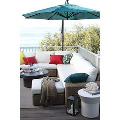 Newport Modular Corner with Sunbrella® White Sand Cushions in New Outdoor | Crate and Barrel
