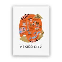"""This Rifle Paper Co.® art print features a colourful illustrated map of Mexico City. This print is perfect if you yearn to travel or want to fondly remember your last trip. Each print is archival printed on natural white cover paper. 8"""" x 10"""""""