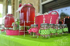 Watermelon party drink table