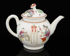 Worcester Chinese style teapot and cover : Lot 2084 Worcester Chinese style teapot and cover decorated in polychrome with figures, the cover with flower finial, 19 cms, circa 1760Provenance; A private collection built up in the late 20th century