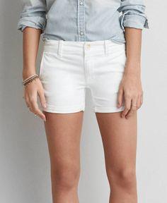 AEO Twill X Midi Shorts, Women's, White