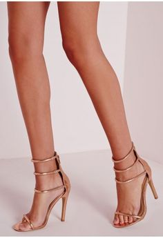 f760aff8740f Four Strap Barely There Sandals Rose Gold - Shoes - High Heels - Missguided Rose  Gold