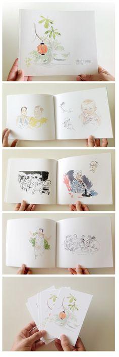 Carnet et cartes imprimée après une journée de dessin de mariage. En savoir plus sur le dessin de mariage : http://www.pretemoitesyeux.fr/mariages