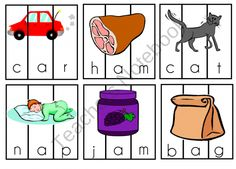 75 CVC cards that you can cut into thirds to make a puzzle or leave as they are to review CVC words.