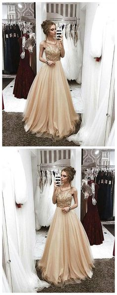 Champagne round neck beaded long prom dress, champagne evening dress P0606 #promdress #promdresses #promgown #promgowns #long #prom #modestpromdress #newpromdress #2018fashions #newstyles #lace #champagne