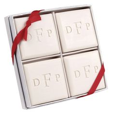 Block Monogram Luxury Soap Set - great hostess gift or bridal shower gift with a set of plush towels.