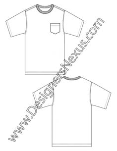 008- mens fashion flat sketch basic t-shirt sketch template with chest pocket -FREE download and more mens flats in Illustrator & .png at designersnexus.com!