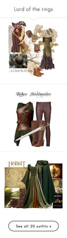 """""""Lord of the rings"""" by ericmyri ❤ liked on Polyvore featuring Balmain, Natures Jewelry, a-line skirts, a-line dresses, brown boots, green skinny jeans, owl jewelry, animal rings, adventure and fairy"""