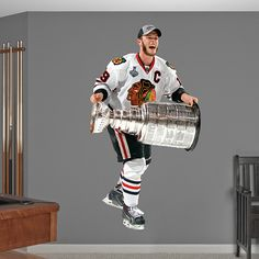 Jonathan Toews: 2013 Stanley Cup REAL.BIG. Fathead Wall Graphic | Chicago Blackhawks Wall Decal | Sports Home Decor | Hockey Bedroom/Man Cave/Nursery