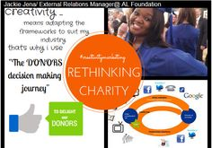 """Rethinking Charity - """"Creativity means adapting frameworks to suit my industry."""" - By Jackie Jena (MMK Class of 2014)"""