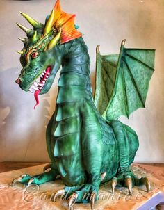 And finally, the main cake for my daughter's birthday, the mighty dragon! He captured the princess holding her wrapped around his tail, while the brave knight is making an effort to rescue her… did he make it in the end? Did the dragon win? Dragon Birthday Cakes, Dragon Cakes, 17 Birthday, Fondant Cakes, Cupcake Cakes, 3d Cakes, Fondant Bow, Fondant Tutorial, Fondant Flowers