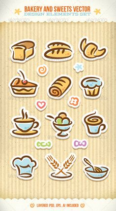 Bakery And Sweets Vector Design Elements Set - GraphicRiver Item for Sale