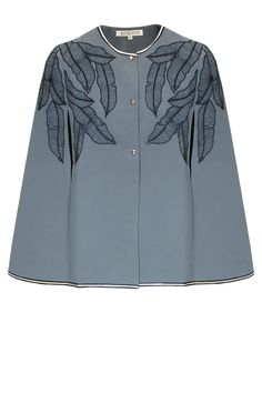 Grey leaf motifs embroidered cape by Kukoon