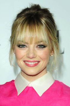 Emma Stone - Blond Bangs. I have the worst bipolar hair tendencies. Loveeeeee her blonde bangs
