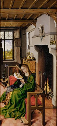 Robert Campin (1375-1444) Right hand panel of the 1438 The Werl Triptych, now in the Prado, Madrid