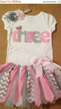 ON SALE Pink and Silver Birthday Tutu Outfit by ScrapHappyTutus