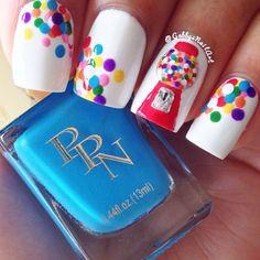Gumball nails easy nail art nails, nail art и nail designs Cute Nail Art, Cute Nails, Pretty Nails, My Nails, Nails For Kids, Girls Nails, Uñas Fashion, Manicure E Pedicure, Cute Nail Designs