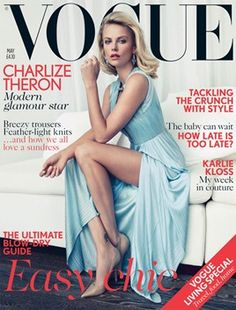 """Vogue UK cover May 2012. """"Actress Charlize Theron wears pleated silk dress, Versace. Leather shoes, Jimmy Choo.... Photographer: Patrick Demarchelier."""""""