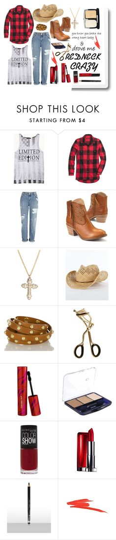 """""""Redneck crazy"""" by beinspiredbyme ❤ liked on Polyvore featuring Forever 21, Madewell, River Island, Boohoo, Brahmin, Lumière, Sephora Collection, Maybelline, Rimmel and NARS Cosmetics"""