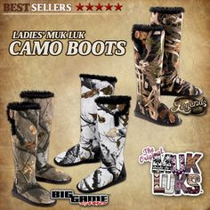 I want the top right ones. the antler ones! So cute :) Women's Muk Luks Camo Boots. Ugg Snow Boots, Ugg Boots Sale, Ugg Boots Cheap, Uggs For Cheap, Boots For Sale, Camo Boots, Shoe Boots, Furry Boots, Muck Boots