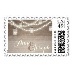 Mason jar lights and burlap Wedding Postage