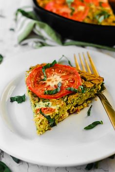 Serve this Vegan Caprese Quiche as a savory breakfast option full of plant protein thanks to chickpea flour and tofu! The seasonal tomatoes and basil make this a delicious, wholesome summer meal. (gluten-free) #emilieeats #veganrecipes #healthy #glutenfreerecipes #veganbreakfast