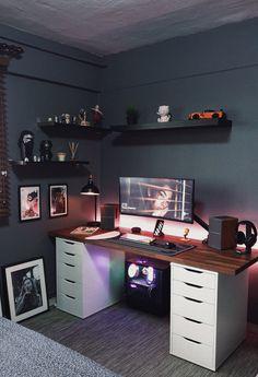 Gamer Bedroom, Bedroom Setup, Room Design Bedroom, Home Studio Setup, Home Office Setup, Home Office Design, Computer Gaming Room, Gaming Room Setup, Desk Setup