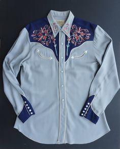 Gray w/ dark blue yokes & cuffs. Vintage Western Wear, Chain Stitch Embroidery, Old Shirts, Western Shirts, Hat Sizes, Westerns, 1950s, Dark Blue, Cuffs