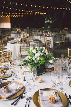 Black, white and gold reception design. Photography: Anna Delores Photography - www.annadelores.com Read More: http://www.stylemepretty.com/2014/08/20/elegant-modern-california-ranch-wedding/