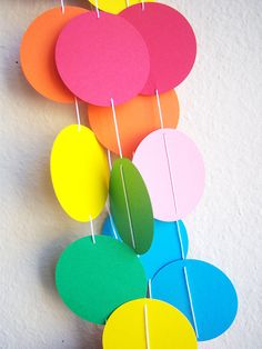 Bright Colors Garland Circles Spring Birthday Party 5 ft Multi rainbow