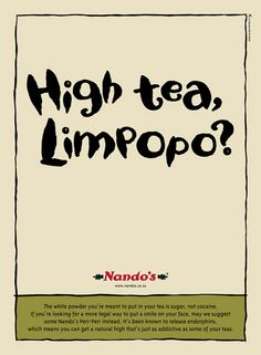 Nandos a South African food franchise is always on the money will it's up to dat… Nandos a South African food franchise is always on the money will it's up to date advertising with tongue in cheek posters Food Franchise, South African Recipes, Print Advertising, World Recipes, Food Packaging, Copywriting, To Focus, High Tea, Growing Up