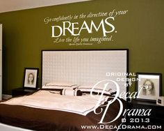 "Go+confidently+in+the+direction+of+your+DREAMS Live+the+Life+You+Imagined. Henry+David+Thoreau+Inspirational+Quote wall+decal:+approximately+25""w+x+11""h+(64cm+x+28cm)  This+order+is+for+the+vinyl+wall+decal+only.  Please+leave+your+color+choice+in+the+message+to+seller+section+at+the+time+..."