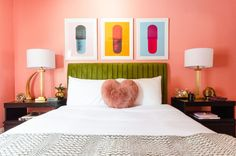 A bedroom can be romantic even if it doesn't have the stereotypical rose petals or satin sheets. Pink Bedroom Decor, Pink Bedrooms, Apartment Bedroom Decor, One Bedroom, Green Apartment, Bedroom Ideas, Colorful Apartment, Bedroom Photos, White Bedroom