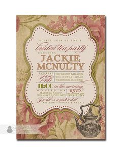 Bridal Tea Party Invitation Vintage Rustic By Digibuddhapaperie Curvy Outline Shape Invitations