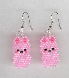 Pink Marshmallow Peeps Easter Bunny Beaded Earrings by FoxyMomma